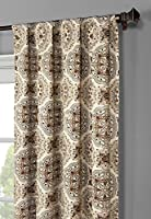 Window Elements Caroline Printed Cotton Extra Wide 104 x 96 in. Rod Pocket Curtain Panel Pair, Spice