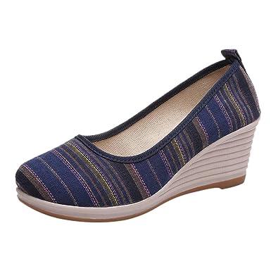 aac0c2de8198 DENER❤ Women Ladies Platform Casual Shoes Slip on Loafers Espadrille