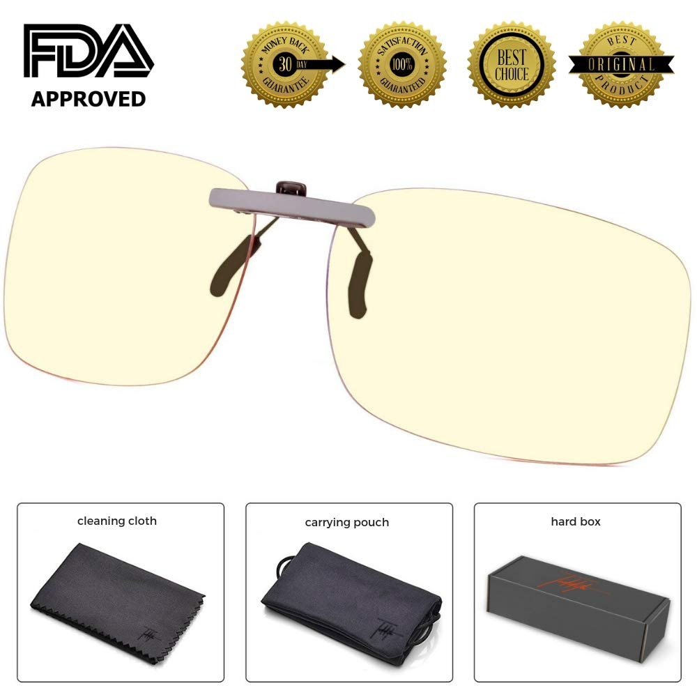 Teddith Blue Light Filter Clip On Computer Glasses UV Blocking Anti Eye Strain Unisex Reading Eyewear Amber Lens
