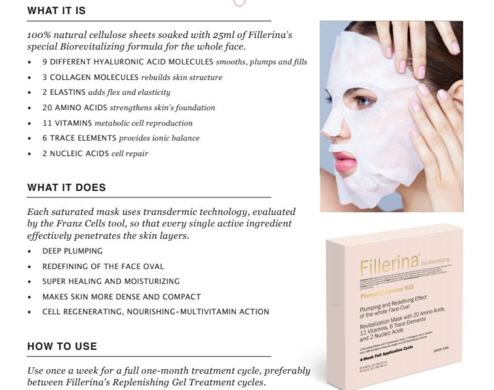 Fillerina Bio-Revitalizing Plumping System – 4 Weekly Anti Aging Face Masks  - 4 Hydrating Face Masks -