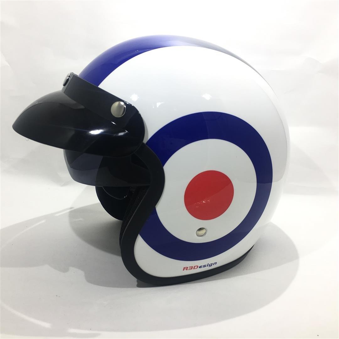 57-58 CM M MOTORBIKE HELMET RS-V06 OPEN FACE UNION JACK BRITISH FLAG TARGET PATRIOTIC NEW DESIGN SUMMER HELMET WHITE