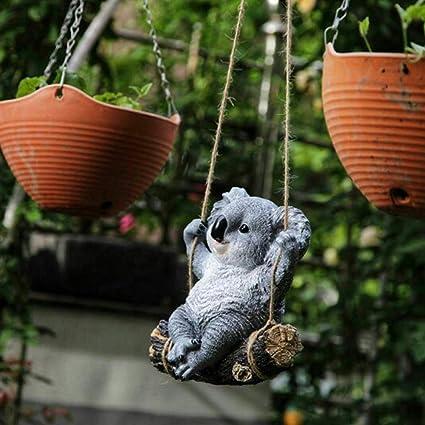 Baijian Jardín Árbol Colgando Adornos Oscilación Oso Koala Resina al Aire Libre Escultura Adornos Patio Figura Animal Estatua Escultura Decoración: Amazon.es: Hogar