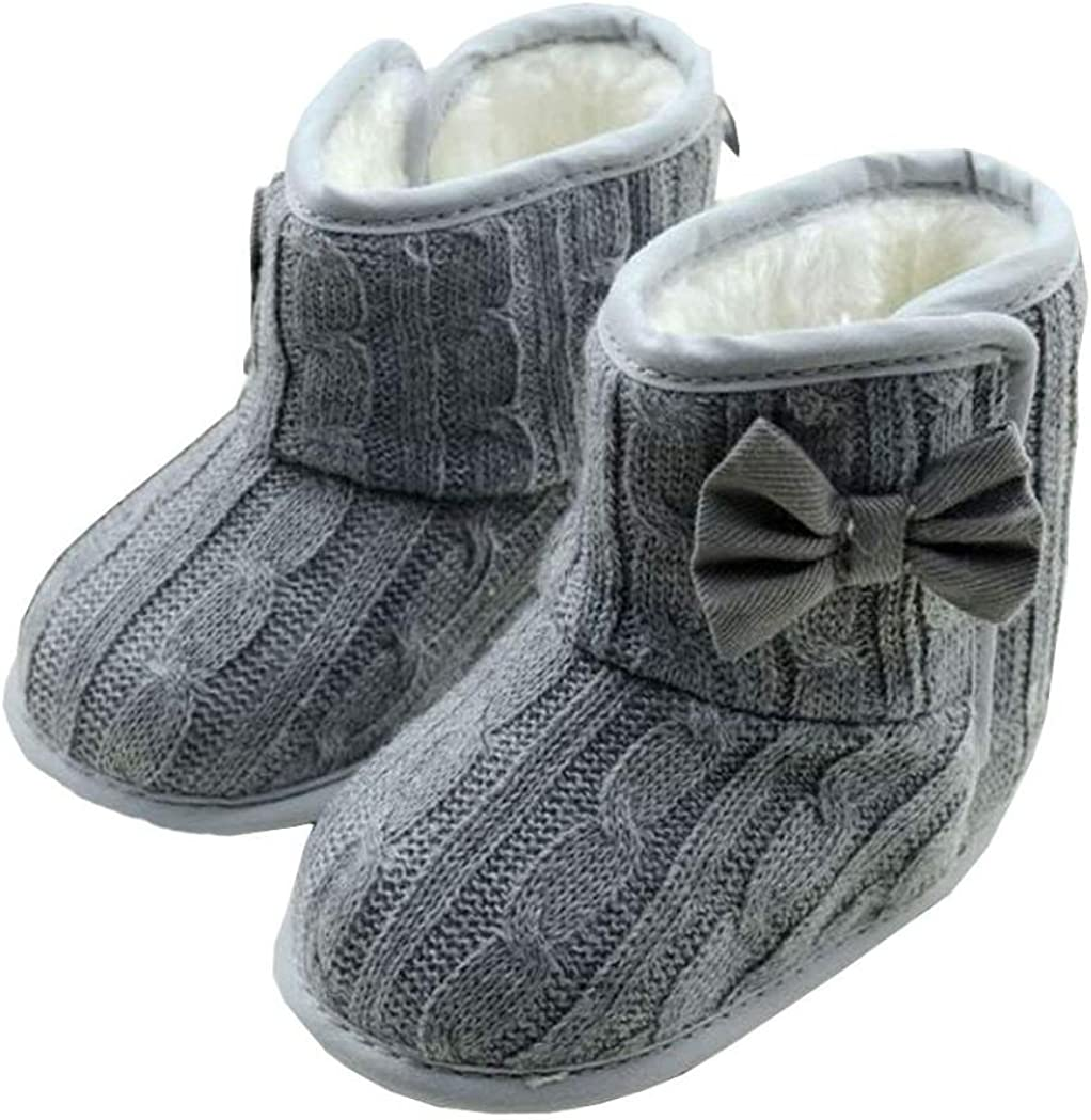 KONFA Toddler Newborn Baby Girls Bowknot Flats Snow Boots,for 0-18 Months,Premium Soft Sole Cotton Shoes