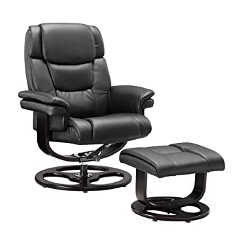 Unmatchable Execuitve Recliner Chair Bonded Leather Black Brown Cream  Armchair Home Office (Black, Circle