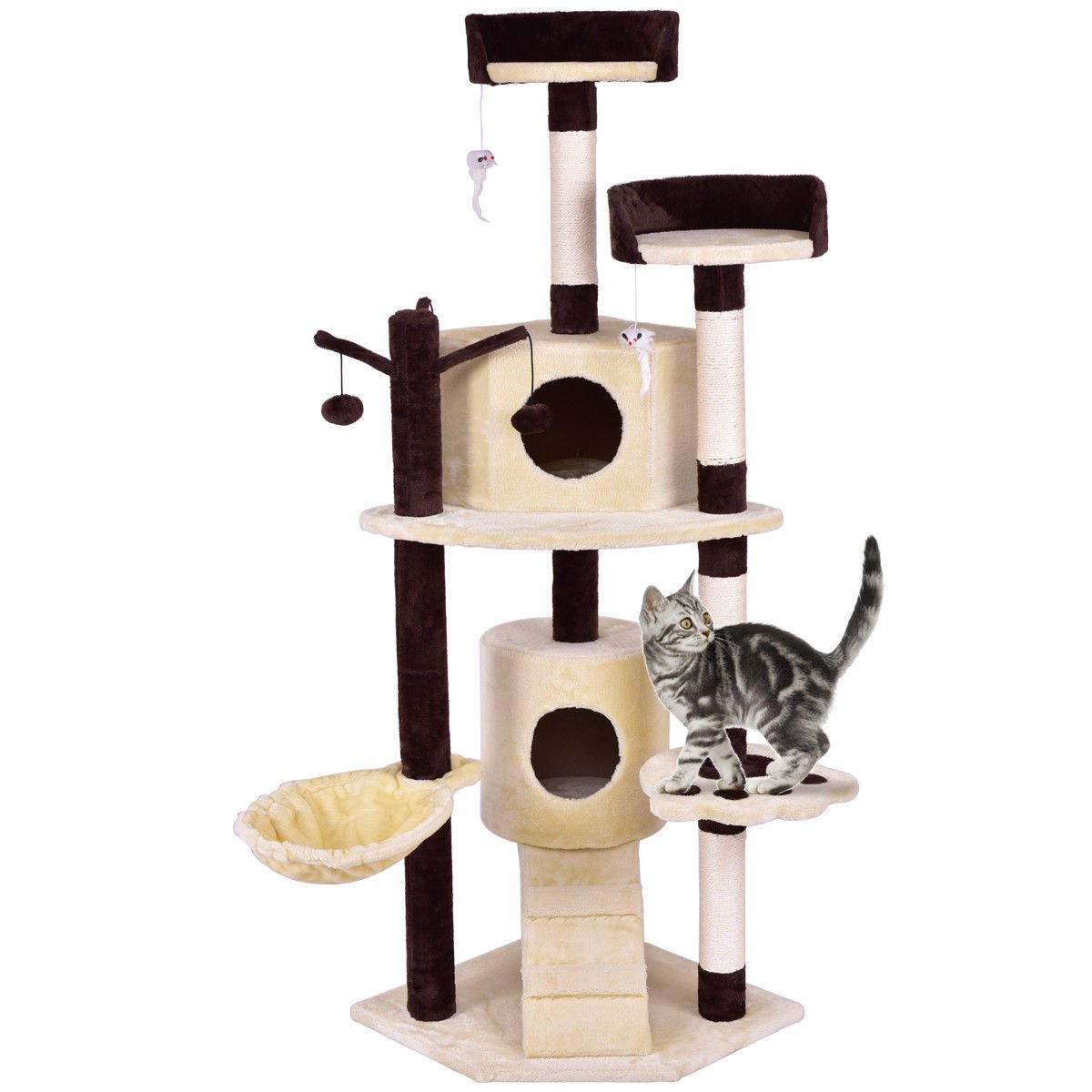 patcharaporn 63'' Cat Tree Pet Play House Tower Condo Bed Scratching Post w Hanging Toy Ladder