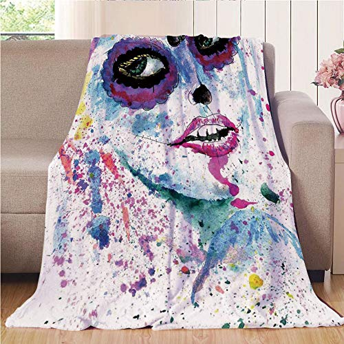 (Blanket Comfort Warmth Soft Cozy Air Conditioning Fleece Blanket Perfect for Couch Sofa Or Bed,Girls,Grunge Halloween Lady with Sugar Skull Make Up Creepy Dead Face Gothic Woman Artsy,Blue)