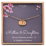 Mother 2 Daughters Three Initial Necklace For Mom, 3 Mini Gold Filled Alphabet Personalized Jewelry Gift