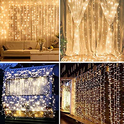 IMAGE 8 Modes Curtain Lights 448 LED 19.6x6.6 Foot String Lights Fairy String Lights for Wedding Party Home Garden Indoor Outdoor Wall Backdrops Decorations Waterproof UL Safety Standard