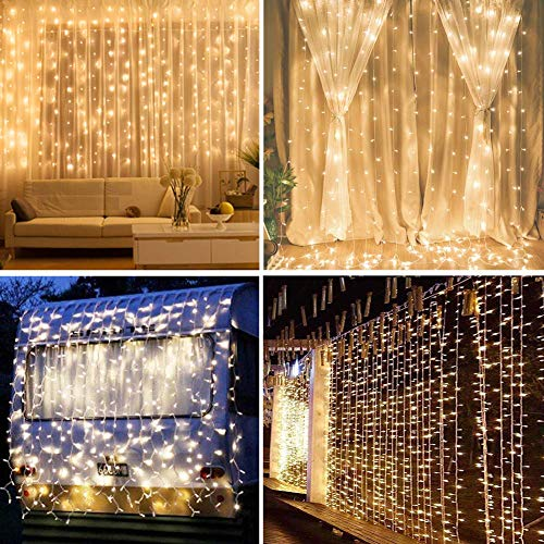 IMAGE Curtain Lights 9.8x6.6 Feet 224 LED String Lights Fairy String Lights for Wedding Party Home Garden Indoor Outdoor Wall Backdrops Decorations Waterproof UL Safety Standard Warm White -