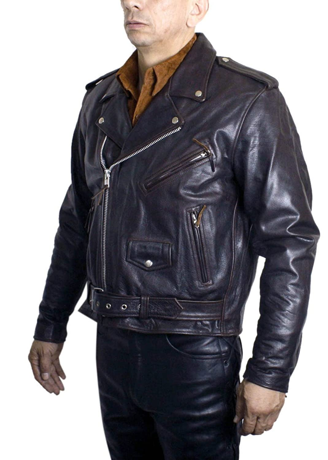 Men's Vintage Style Coats and Jackets Mens Basic Motorcycle Jacket Genuine Soft Buffalo Leather Brown Retro Biker 402 $169.99 AT vintagedancer.com
