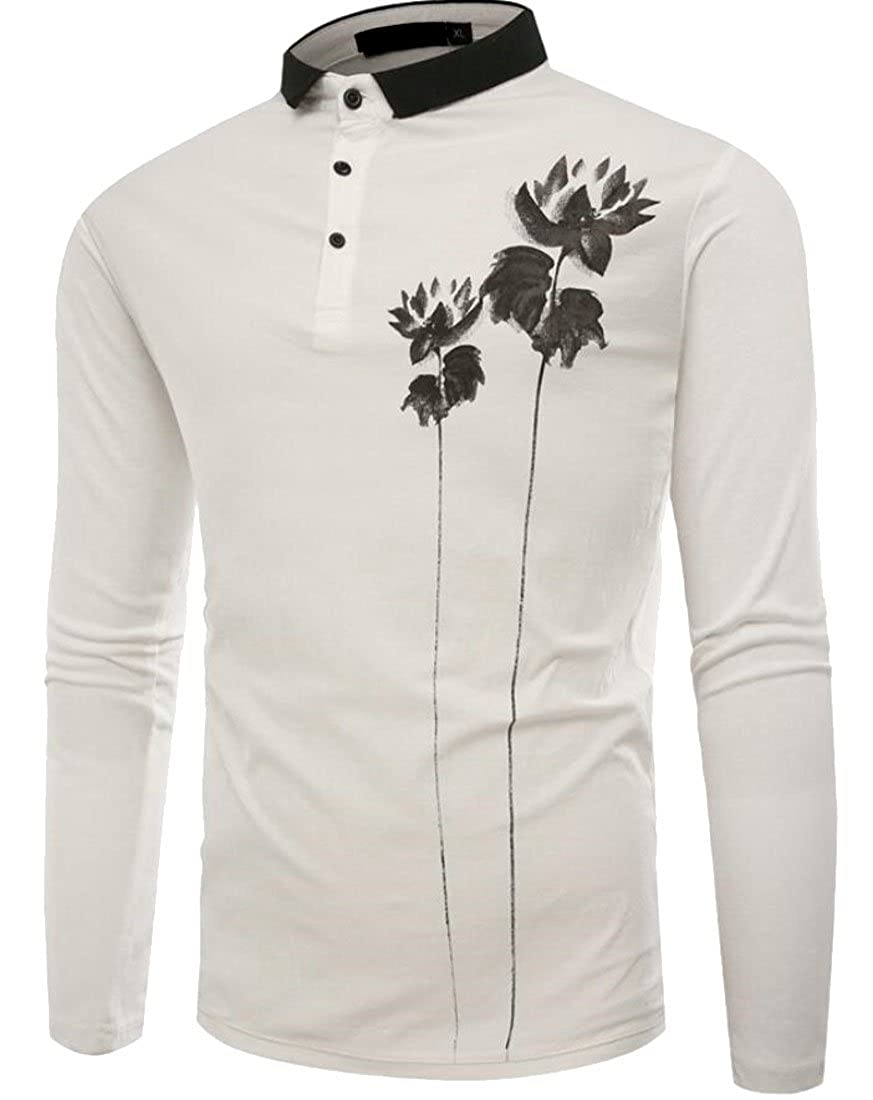 Frieed Mens Slim Fit Long Sleeve Jersey Polo Shirt-Ultra Soft Fabric