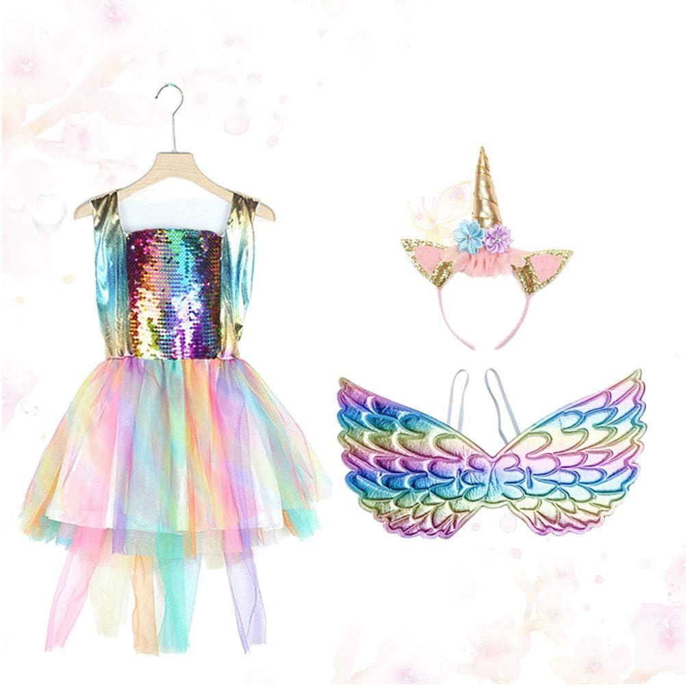 Amosfun Disfraz de Unicornio para niñas Vestido Arco Iris de ...