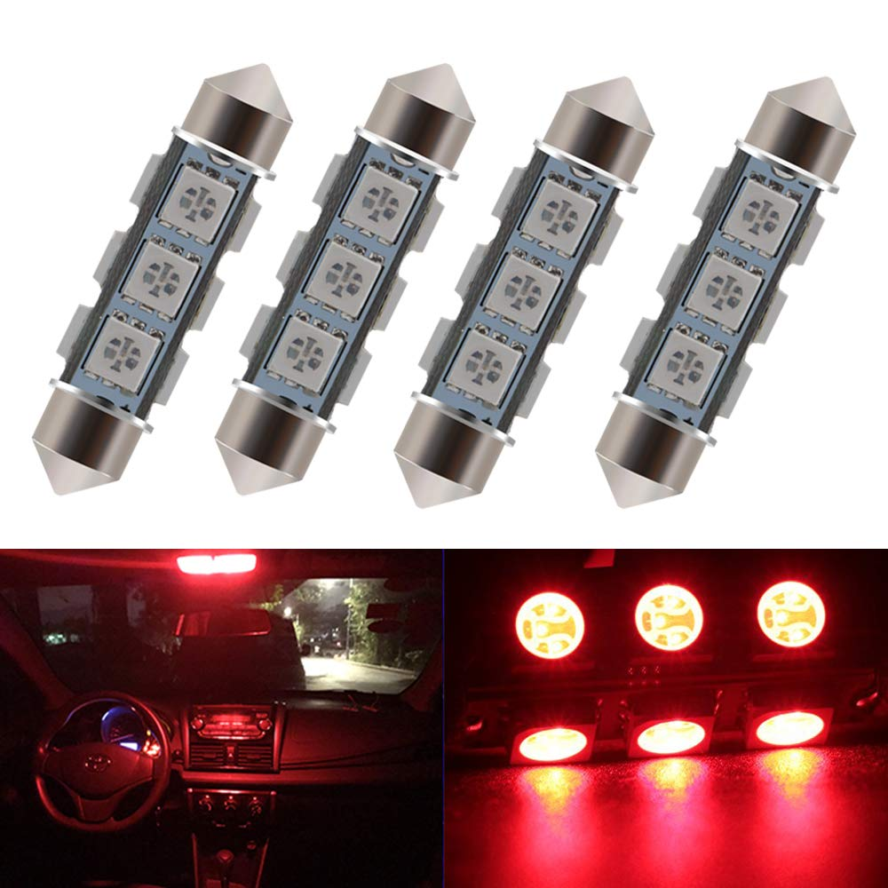 Everbright 6-Pack Red 44MM 1.72' 5050 Chipes 12-SMD 211-2 212-2 569 578 LED Festoon Interior Map/Dome Dome/Trunk / Glove Box Lights LED Lamp (DC-12V) YM E-Bright