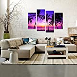 Creative-Art-4-Panel-Tropical-Palm-Trees-Purple-Sunset-on-Ocean-Beach-Nature-Wall-Art-Print-Picture-on-Canvas-Framed-Artwork-Ready-to-Hang