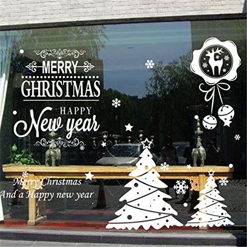 ORDERIN Christmas Gift Merry Christmas And Happy New Year Quote White Reindeer Removable Mural Wall Stickers Art Cupboard Decal for Children Room Decor