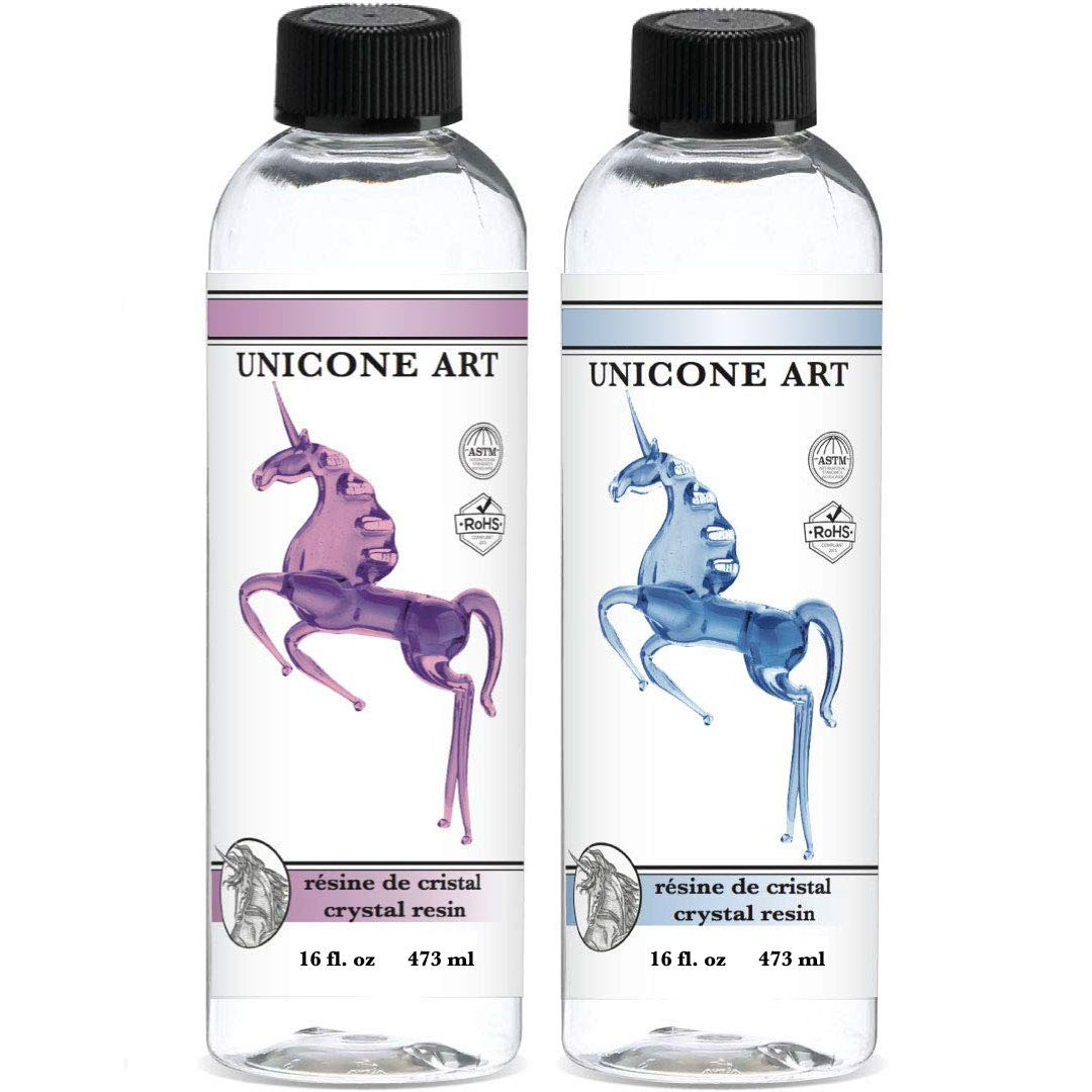 Resin Epoxy for Art - Perfectly Clear - Easy Mix 1:1 Ratio - Crystal Resin (32 oz.) by unicone art