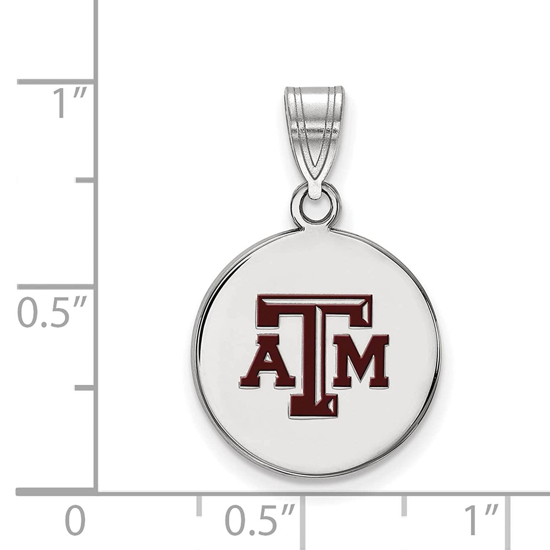 925 Sterling Silver Rhodium-plated Laser-cut Texas A/&M University Medium Enameled Disc Pendant
