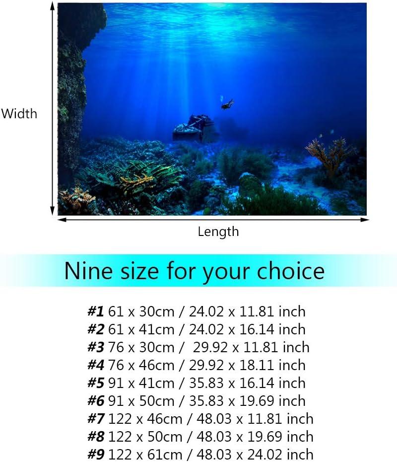 122 * 50cm Aquarium Fish Tank Background 3D Effect Pictures PVC Adhesive Aquarium Underwater Seaworld Backdrop Decorations Poster