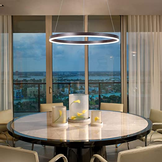 Harchee Modern LED Ring Chandelier Acrylic Round Shape Ceiling Light  Fixture, Adjustable LED Circle Pendant Light with 1 Ring for Living Room,  Dining ...
