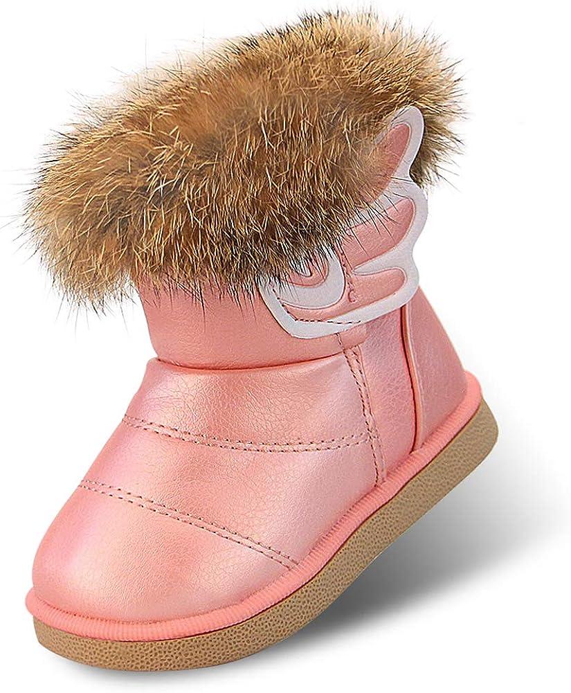 Botas de Nieve para Ni/ñas Impermeable Calentar Zapatos de Invierno para Ni/ñas Cuero de la PU Algod/ón