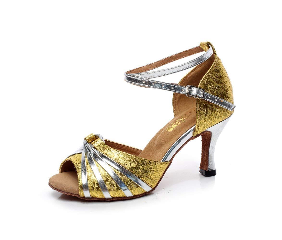 HhGold Latin Schuhe für Damen Glanz Salsa Tango Chacha Samba Modern Jazz Dance Sandalen Hohe Absätze Gold6cm-UK5.5   EU38   Our39 (Farbe   Gold5cm Größe   UK3 EU33 Our34)
