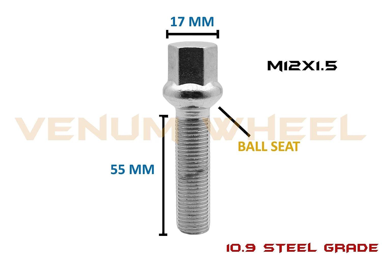 55 mm Extended Length Venum wheel accessories 20Pc Ball Seat M12x1.5 Lug Bolts Chrome Radius Works with Mercedes Benz W//Factory Wheels Chasis W123 W124 W201 W202 W203 W208 W209 W210 R107