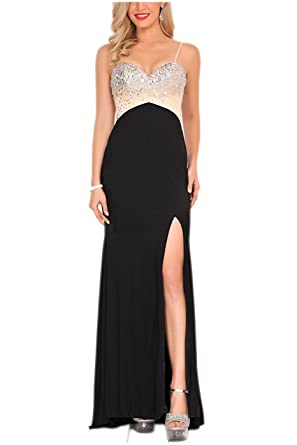 Baijinbai Womens Beaded Long Prom Dresses Cocktail Evening Formal Gowns Sexy Side Slit Black UK26