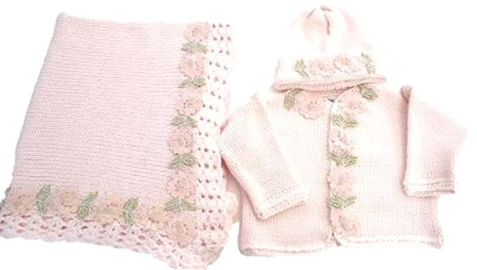 2111f328eee0 Amazon.com  Knitted Pink Cotton Girls Cardigan Hat Set and Matching ...