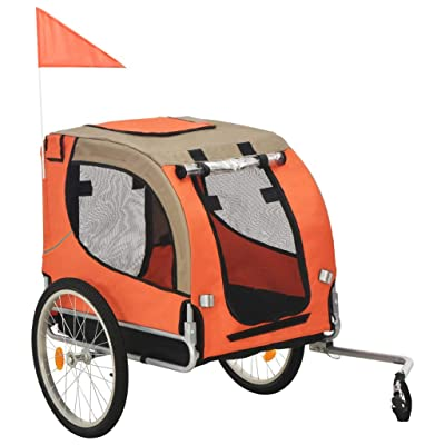 Dog Bike Trailer Orange and Brown
