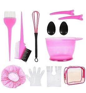 13 Pcs Hair Dye Brush And Bowl Set,Pink Hair Brush Set Hair Bleaching Kit with Gloves, Hair Dying Kit DIY Salon Hair Coloring Tools-Hair Color Applicator Brush, Bleach Mixing Bowl