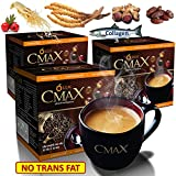3 Boxes (36 sachets) of CMAX Best instant Coffee herbal dietary supplement Cordyceps , Ginseng , Date Powder , Hawthorn Berry powder, sugar free , Trans-Fat-Free Product