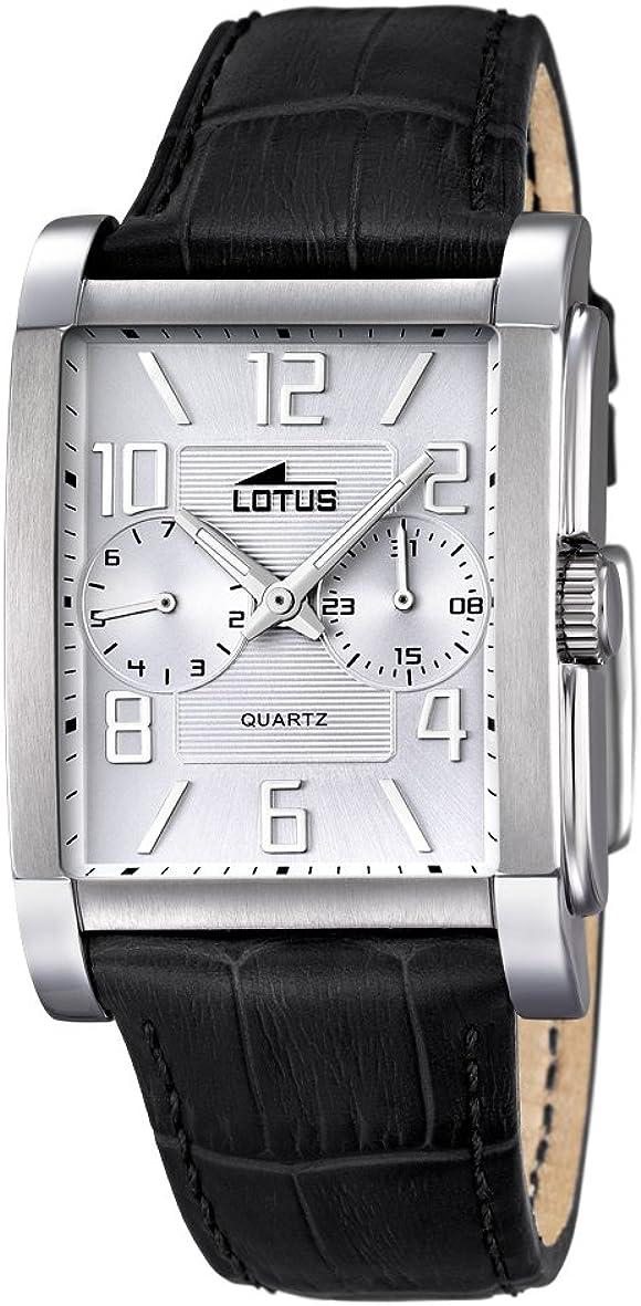 Lotus 18221/1 - Reloj para Hombre, Cuarzo, analógico, Correa de Piel, Color Negro