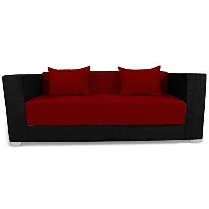 Adorn India Almond 3 Seater Sofa Cumbed (Maroon & Black)