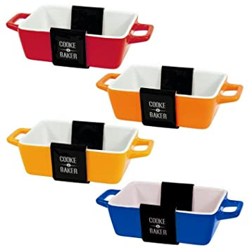 Set Of 4 Rectangular Bright Coloured Small Oven To Table Lasagne/ Pie/  Casserole