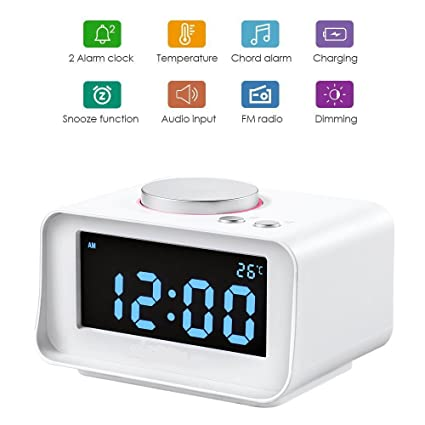 Reloj despertador digital con radio FM, cargador con doble puerto USB, termómetro interno, regulador de intensidad de brillo, función de repetición, ...
