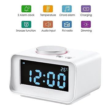 Reloj despertador digital con radio FM, cargador con doble puerto USB, termómetro