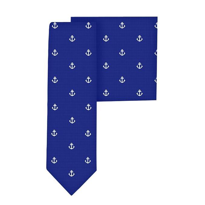 Conjunto corbata estrecha & pañuelo de bolsillo navy con lunares ...
