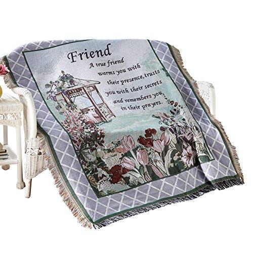 True Friend Garden Tapestry Throw, Machine Washable, Cotton,Polyester