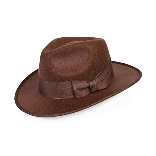 a6aac839164521 Amazon.com: Forum Novelties 40's Brown Adventurer Fedora Steampunk Hat  Adult Men Costume Accessory Gangster: Toys & Games