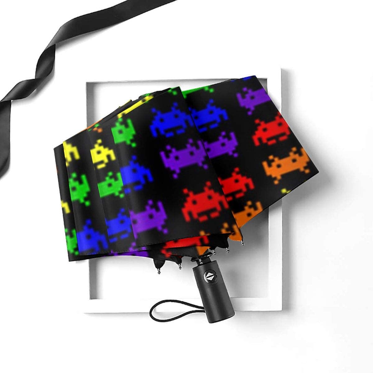 Retro Space Invaders Umbrella Compact Rain/&Wind Repellent Umbrellas Sun Protection With Anti UV Coating Travel Auto Folding Umbrella