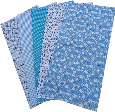 5pcs Tela Patchwork Algodon Ropa de Manualidades Costura Quilting Bundle Plaza 50x50cm (Azul): Amazon.es: Hogar