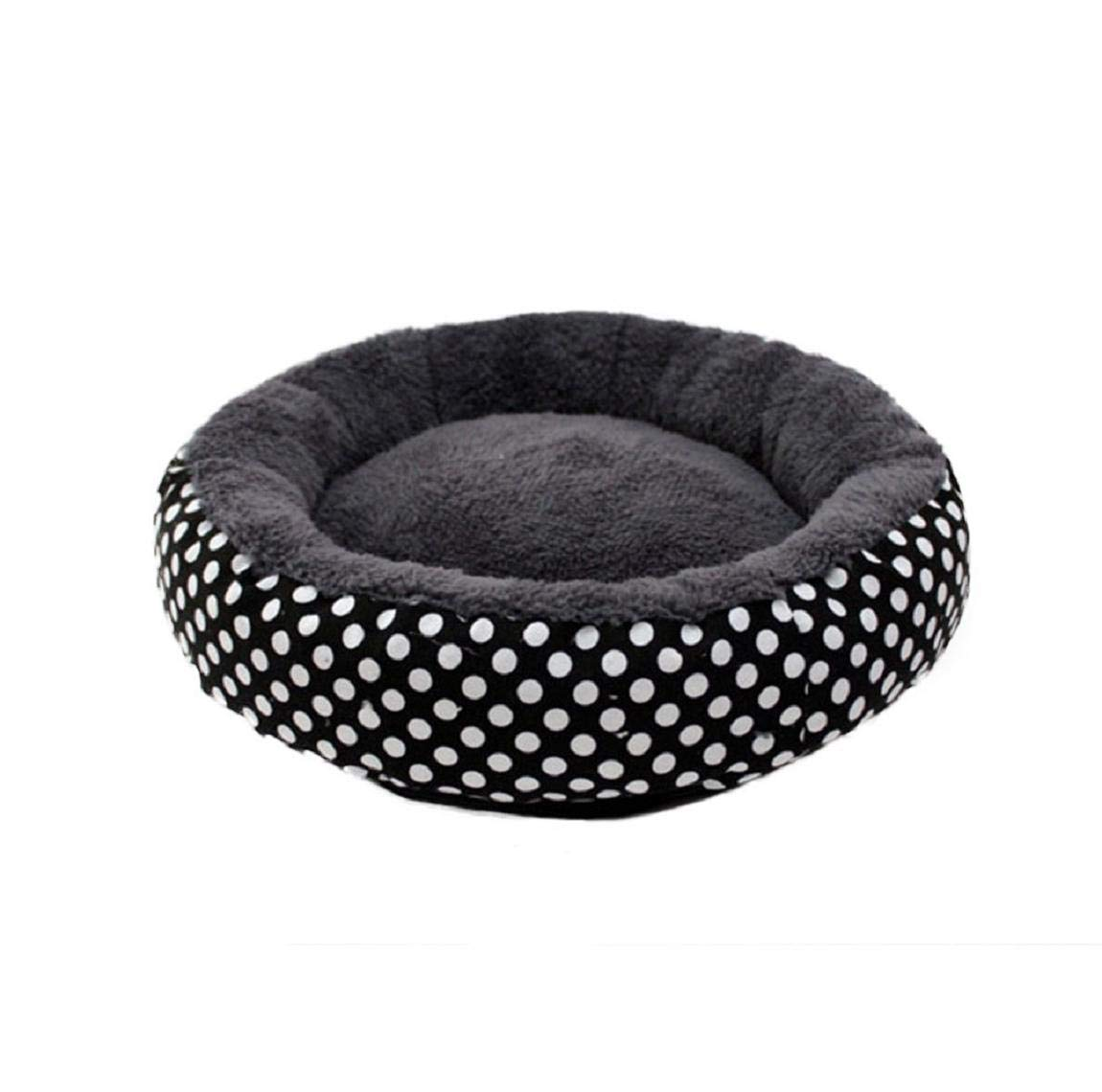 Black Barlingrock Pet Cat Dog Puppy Bed, Round-Shape Drop Ball Self-Warming Winter Warm Cushion Durable Canvas Washable Breathable Sleeping Pad Nest Mat Pad Kennel for Teddy Small Dog Kitten
