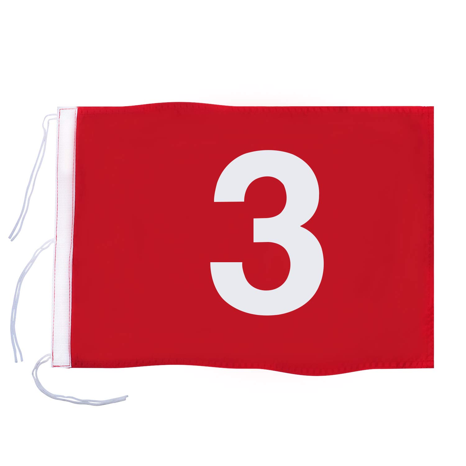 KINGTOP Numbered Golf Flag with Secure Strings, 13'' L x 20'' W, 420D Nylon, Red 3 by KINGTOP