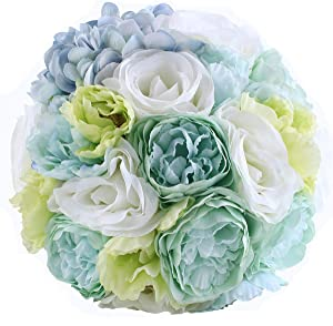 Abbie Home Beach Wedding Bridal Bouquet Holding Tossing Flower with Rhinestone Decoration (476B)
