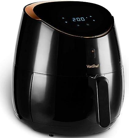 VonShef Freidora sin Aceite de Aire Digital 5L de 2000W – Cocina Bajo en Grasa y Más Saludable, Fría, Hornee, Rostice y Recaliente, Protección contra el Sobrecalentamiento, Temperatura 80-200°C: Amazon.es: Hogar