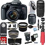 Canon Rebel T7i Digital SLR Camera + 18-55mm STM + Canon 75-300mm III Lens + Vivitar Slave Flash + 64gb SDXC + Remote + Complete Cleaning Kit + Accessory Bundle - 3pc Filter Kit + Sling Backpack