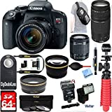 Canon Rebel T7i Digital SLR Camera + 18-55mm STM + Canon 75-300mm III Lens + Vivitar Slave Flash + 64gb SDXC + Remote + Complete Cleaning Kit + Accessory Bundle - 3pc Filter Kit + Sling Backpack