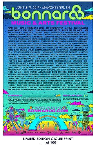 RARE POSTER festival BONNAROO music 2017 giclee REPRINT #'d/100!! 12x18