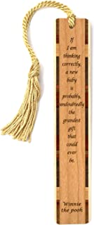product image for Winnie The Pooh Quote - New Baby is The Grandest - Engraved Wooden Bookmark with Tassel - Search B07QG4C13K to See Personalized Version