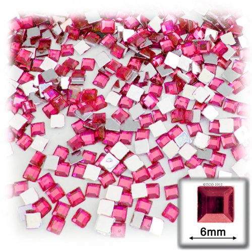 The Crafts Outlet 144-Piece Flat Back Square Rhinestones, 6mm, Hot - 144 Piece Square Rhinestones